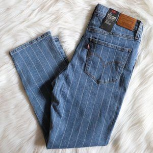 Levi's 724 Striped Hi Rise Straight Cropped Jeans